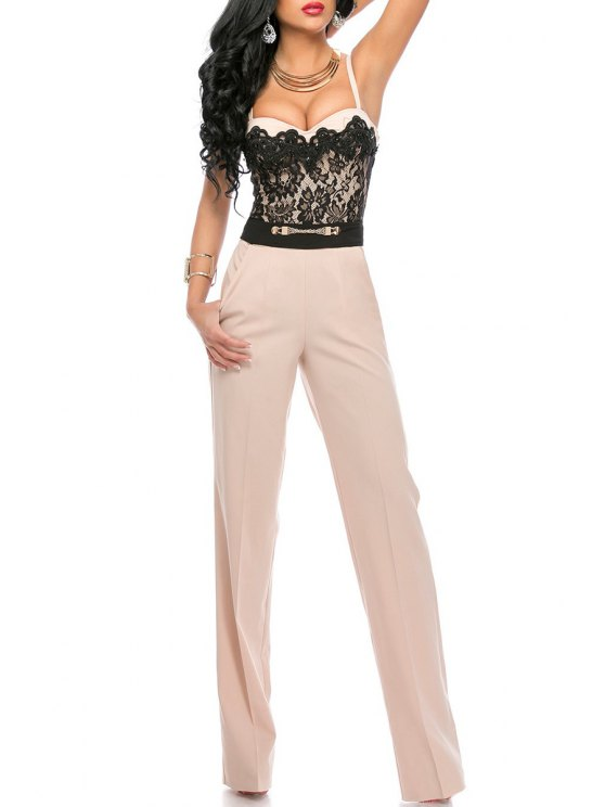 hot Spaghetti Strap Lace Spliced Wide Leg Jumpsuit - WHITE AND BLACK ONE SIZE(FIT SIZE XS TO M)