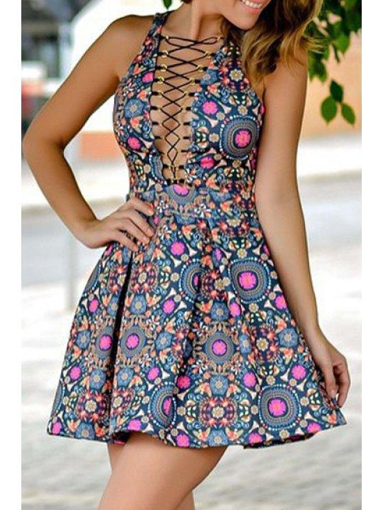 shop Print Plunging Neck A Line Hollow Dress - PURPLISH BLUE S
