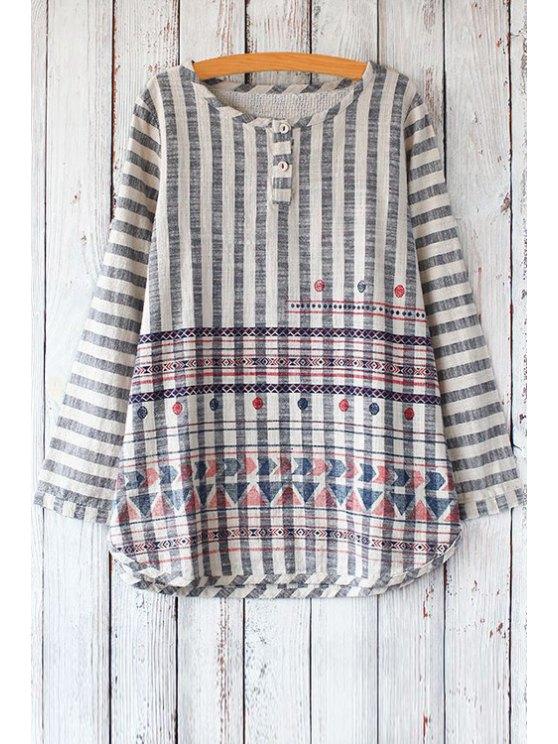trendy Stripe Geometric Pattern Long Sleeve T-Shirt - BLUE ONE SIZE(FIT SIZE XS TO M)
