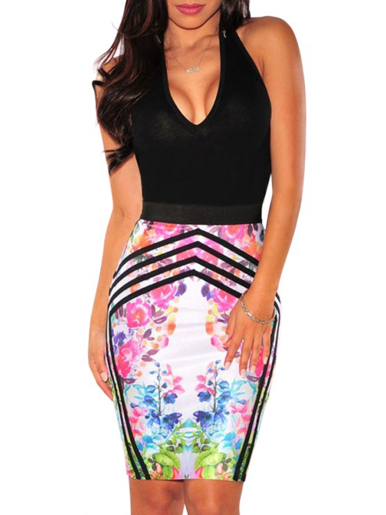 hot Halter Backless Floral Print Bodycon Dress - COLORMIX M