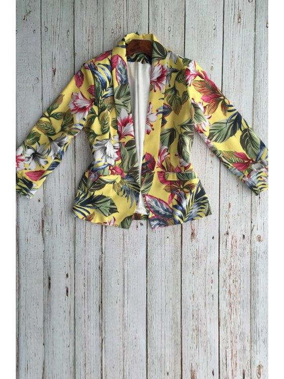 sale Floral Shawl Collar Long Sleeve Blazer - DEEP YELLOW S