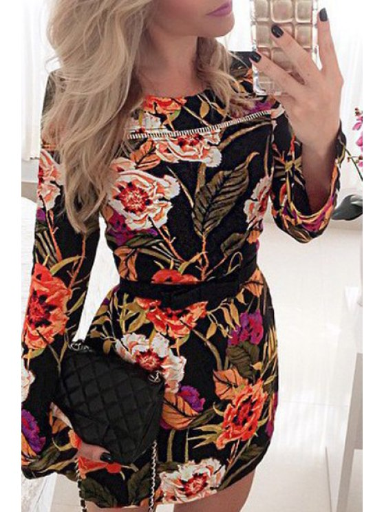 outfit Flowers Print Round Neck Long Sleeve Dress - AS THE PICTURE S