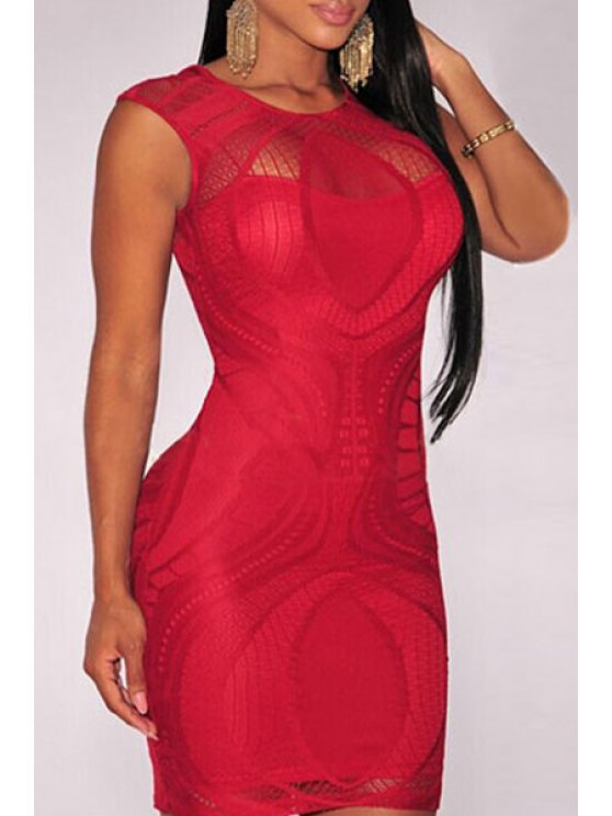 best Openwork Lace Hook Bodycon Dress - RED ONE SIZE(FIT SIZE XS TO M)