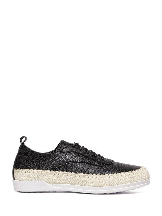 trendy Weaving Lace-Up Platform Flat Shoes - BLACK 35