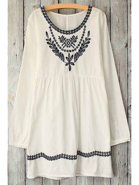 online Leaves Pattern Embroidery Long Sleeve Dress - WHITE ONE SIZE(FIT SIZE XS TO M)
