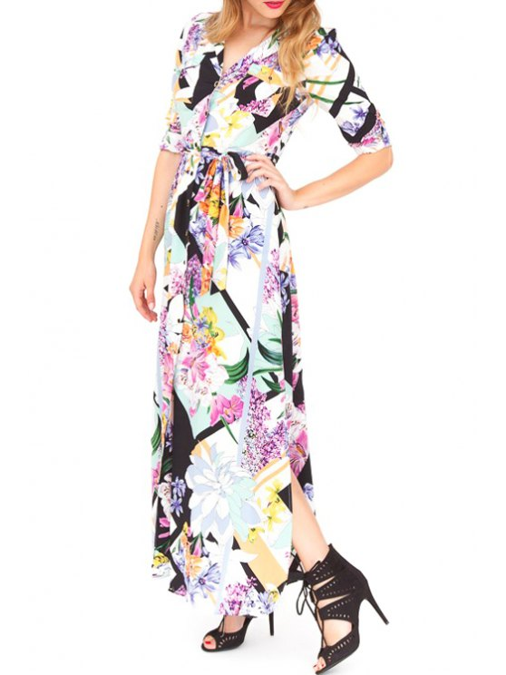 women Floral Print V Neck Half Sleeve Maxi Dress - AS THE PICTURE S
