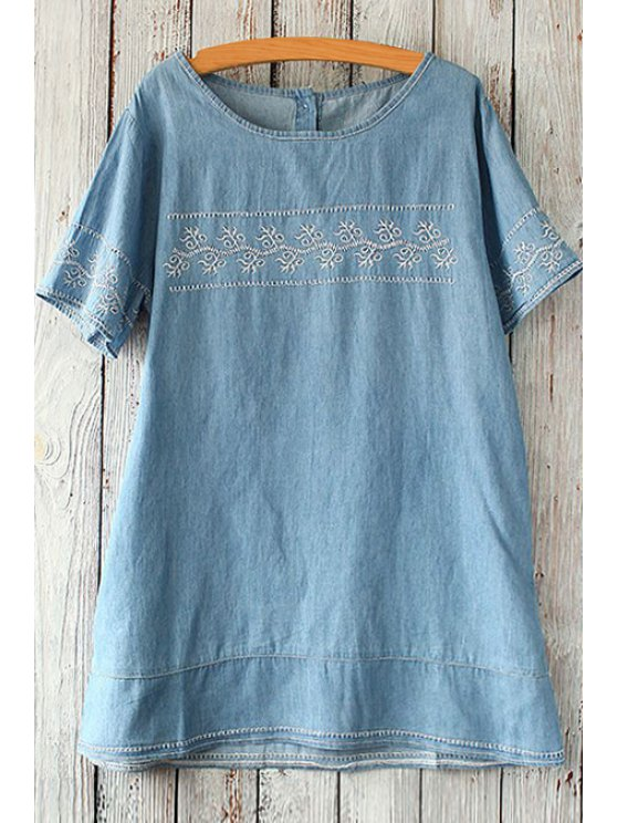 fashion Embroidered Denim Tunic Top - LIGHT BLUE ONE SIZE(FIT SIZE XS TO M)