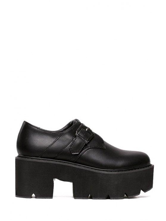 affordable Round Toe Buckle Solid Color Platform Shoes - BLACK 35