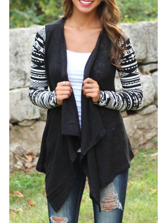 fashion Tribal Pattern Long Sleeve Coat - BLACK S