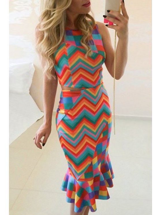 online Zig Zag Print Round Neck Sleeveless Dress - COLORFUL S