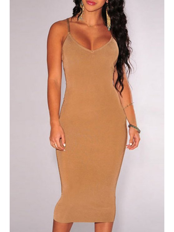 women's Spaghetti Strap Crisscross Back Bodycon Dress - COFFEE ONE SIZE(FIT SIZE XS TO M)