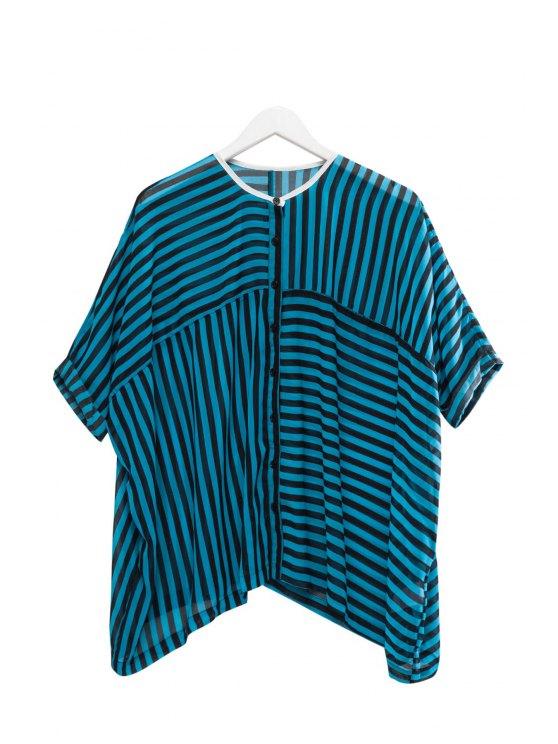 sale Stripe See-Through Half Sleeve Shirt - BLUE AND BLACK XS