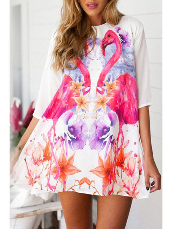 shops Half Sleeve Flamingo Print Flare Floral Dress - WHITE M