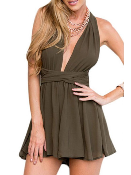 buy Solid Color Sleeveless Backless Playsuit - BROWN S