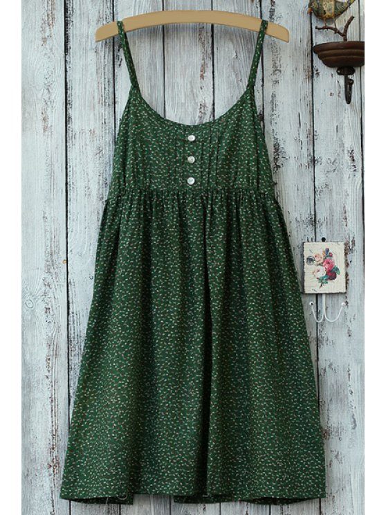 unique Spaghetti Strap Green Print Sleeveless Dress - GREEN ONE SIZE(FIT SIZE XS TO M)