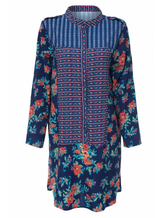 hot Print Spliced Stand Neck Long Sleeve Dress - PURPLISH BLUE S