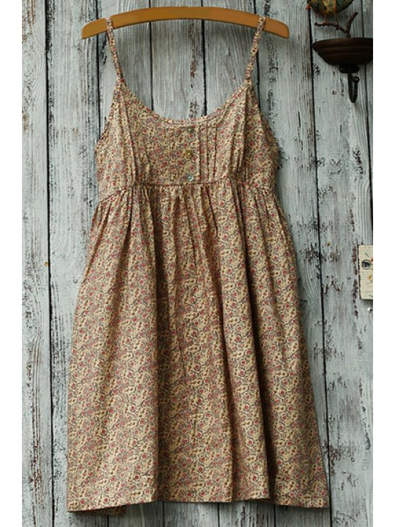 buy Spaghetti Strap Tiny Floral Print Dress - DEEP YELLOW ONE SIZE(FIT SIZE XS TO M)