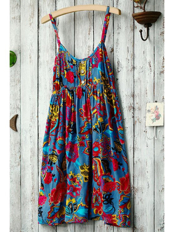 women's Spaghetti Strap Red Yellow Floral Printed Dress - BLUE ONE SIZE(FIT SIZE XS TO M)