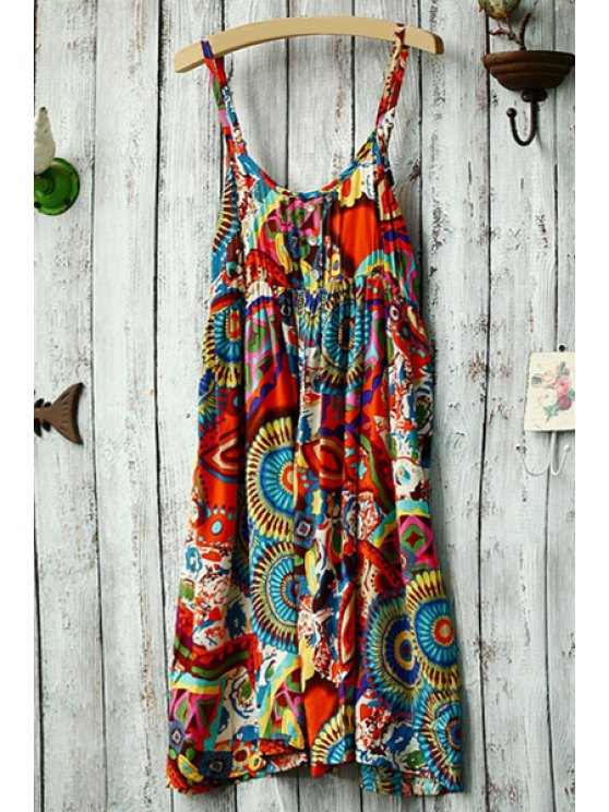 ladies Spaghetti Strap Colorful Round Pattern Dress - COLORMIX ONE SIZE(FIT SIZE XS TO M)