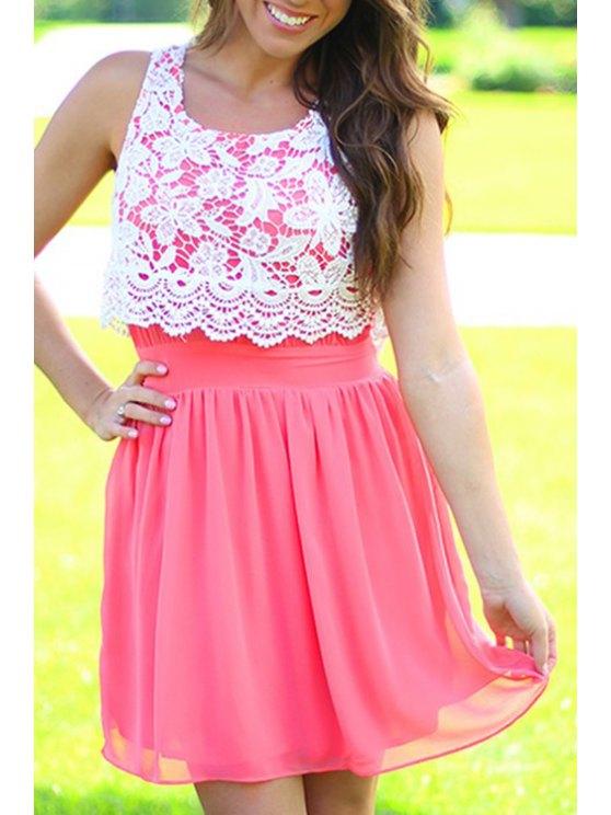 trendy Sleeveless Crochet Flowers Spliced Dress - WATERMELON RED S