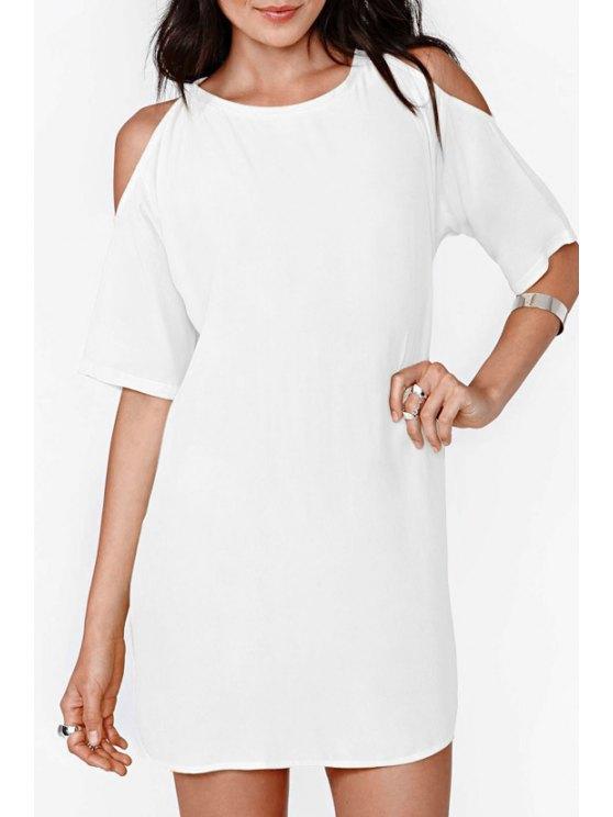 shop Solid Color Cut Out Chiffon Dress - WHITE S