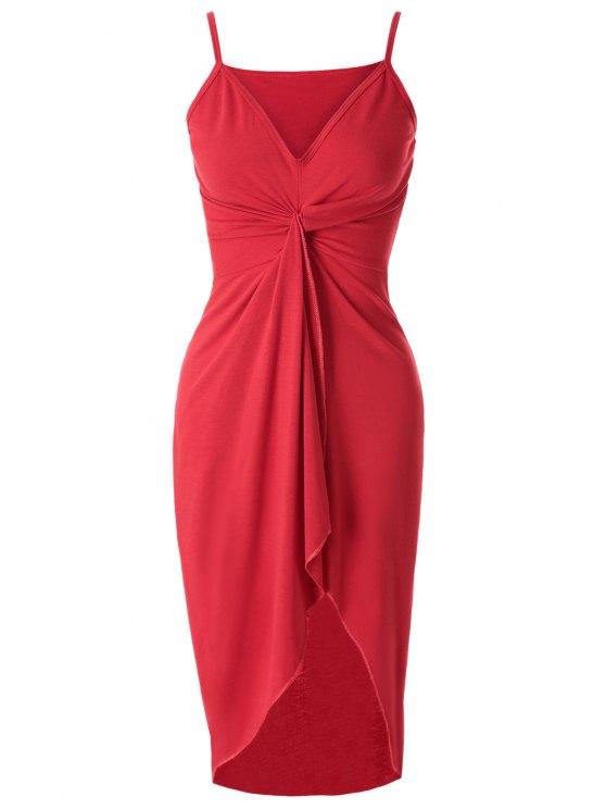 fashion Solid Color Irregular Hem Dress - RED S