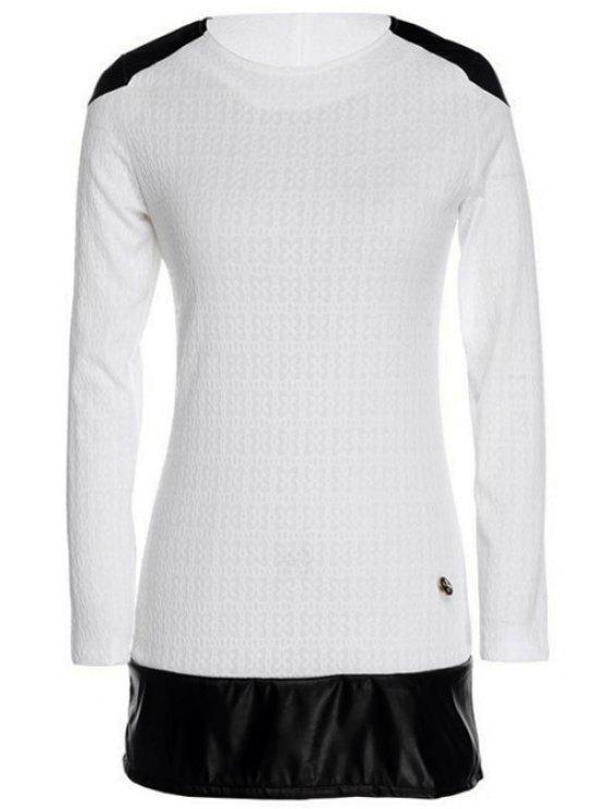 fancy Long Sleeve Color Block Spliced Dress - WHITE S