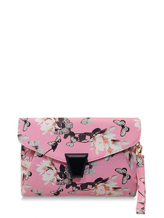 best Floral Print Metal Zipper Clutch Bag - PINK
