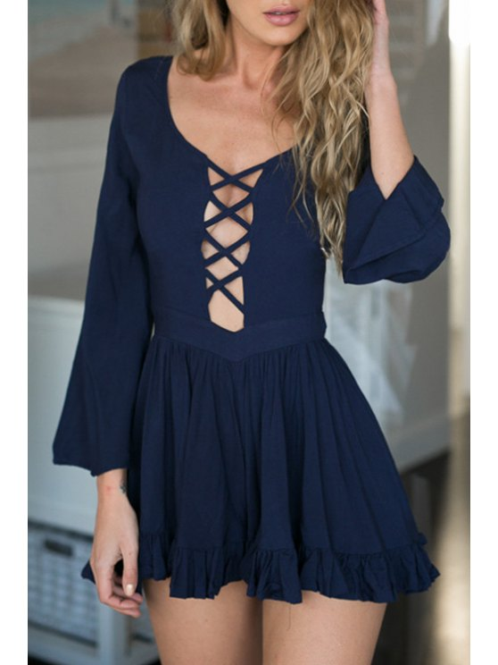 online Plunging Neck Hollow Out Backless Romper - PURPLISH BLUE S