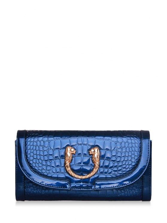 hot Crocodile Print Metal Zipper Clutch Bag - BLUE