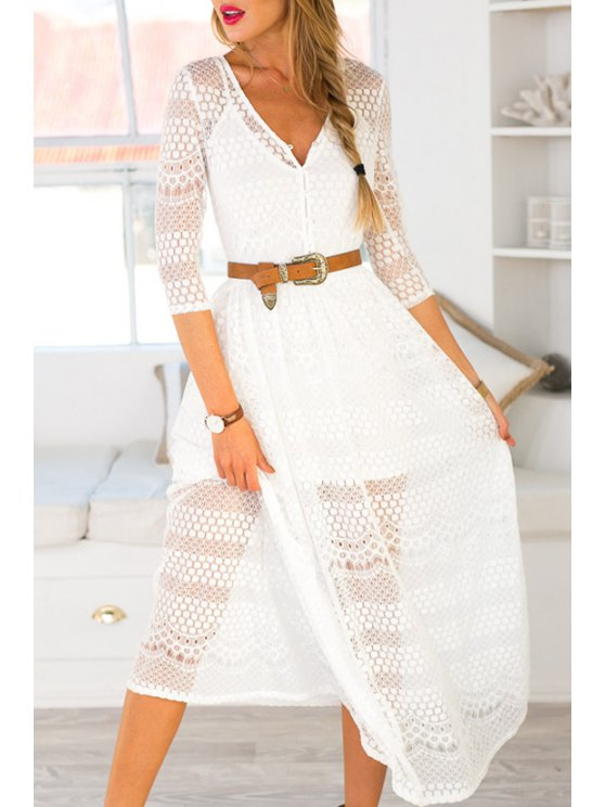 new V Neck See-Through Lace 3/4 Sleeve Dress - WHITE L