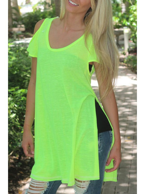 online Side Slit Solid Color Short Sleeve T-Shirt - AS THE PICTURE S
