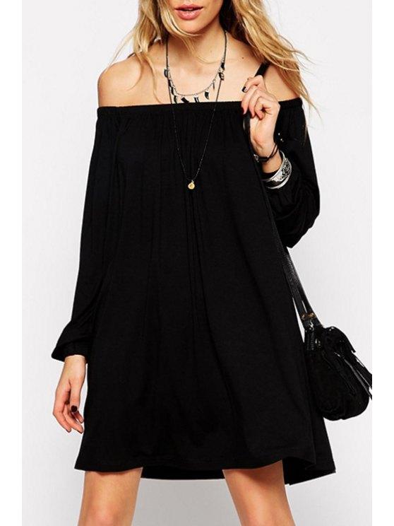sale Off-The-Shoulder Long Sleeve Black Dress - BLACK S