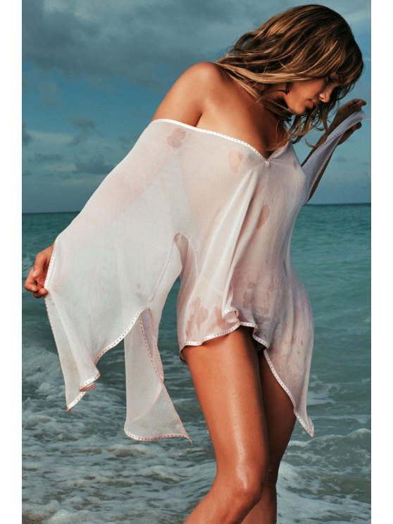 outfit Wide Sleeve See-Through White Chiffon Blouse - WHITE S