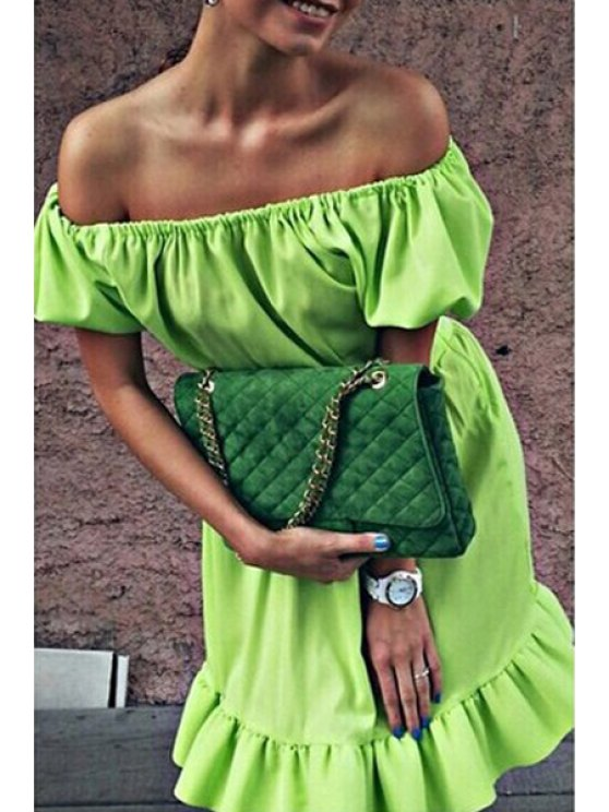 shops Slash Neck Solid Color Flounce Dress - NEON GREEN S