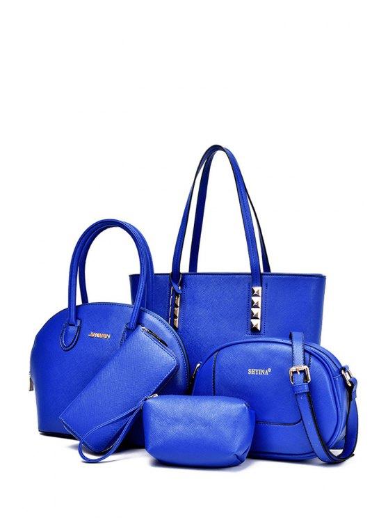 trendy Metal Solid Color Rivets Shoulder Bag - BLUE