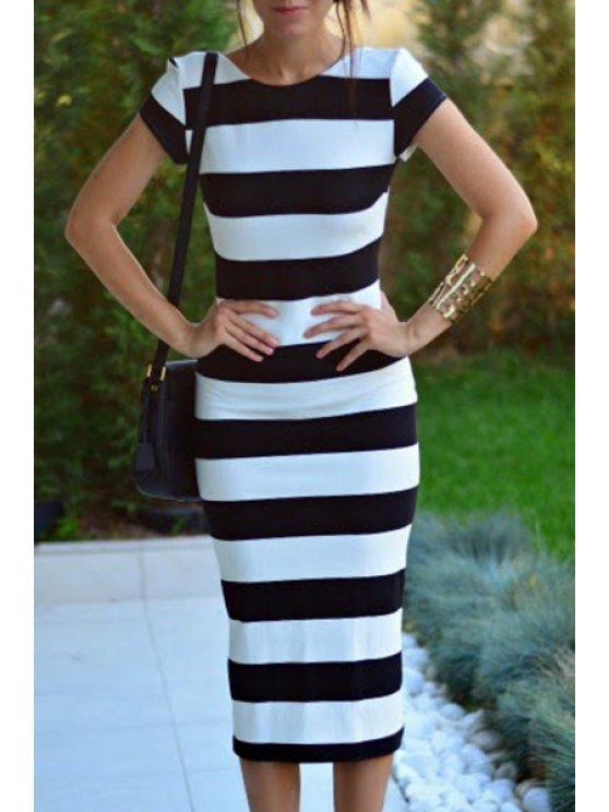 best Low Back Striped Bodycon Dress - WHITE AND BLACK S