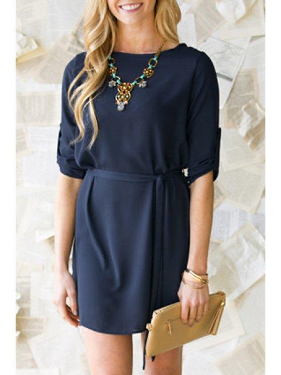 latest Draped Sleeve Purplish Blue Dress - PURPLISH BLUE S