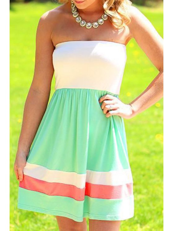 affordable Strapless Color Block Stripes Sleeveless Dress - WHITE AND GREEN S