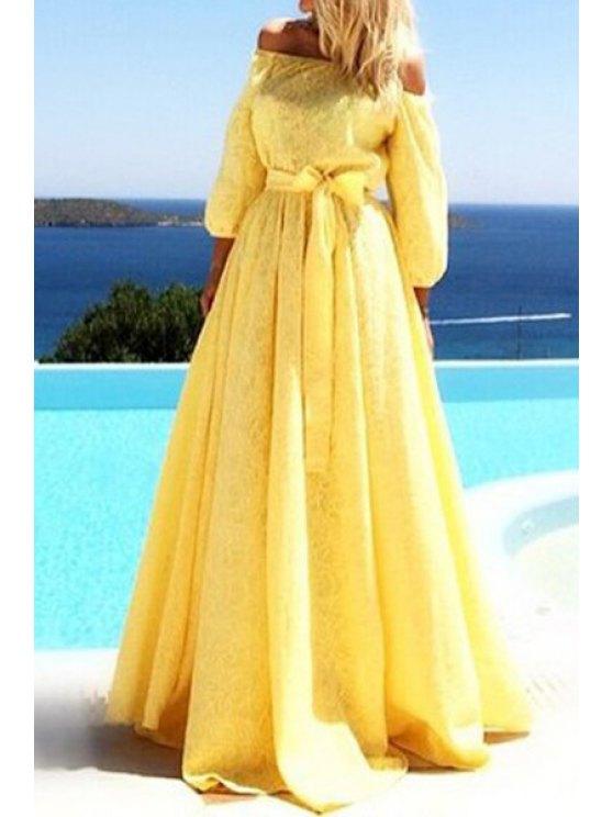 fancy Yellow Slash Neck 3/4 Sleeve Maxi Dress - YELLOW S