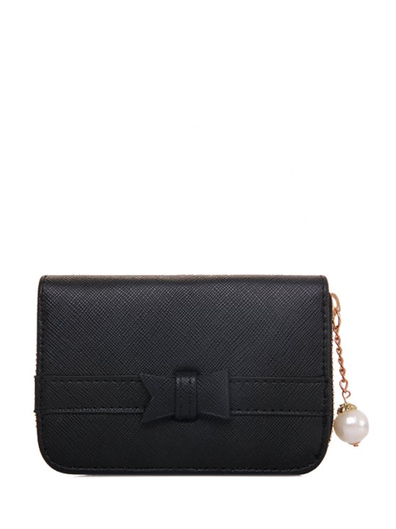 fashion Faux Pearl Zipper Chains Wallet - BLACK