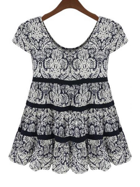 outfits Scoop Neck Black Printed Short Sleeve Blouse - BLACK XL