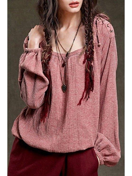 unique Long Sleeve Lace-Up Loose Blouse - PINK M
