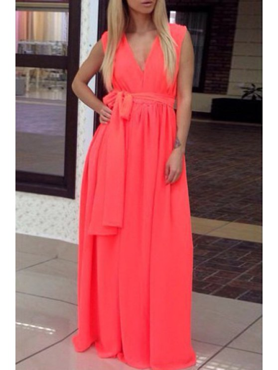 lady Tie Knot Solid Color Sleeveless Dress - WATERMELON RED L