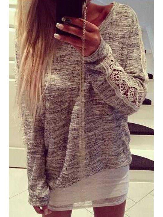 women's Lace Spliced Long Sleeve Knitwear - GRAY S