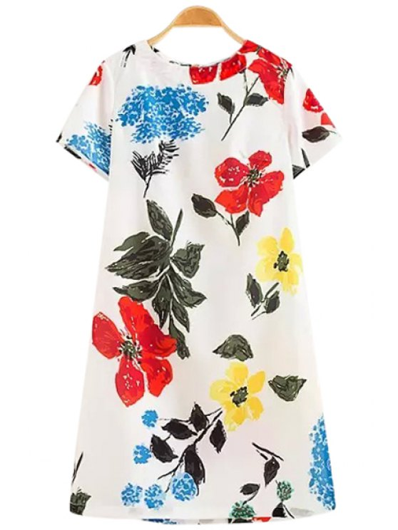 outfit Floral Print Zippered Midi Dress - WHITE S