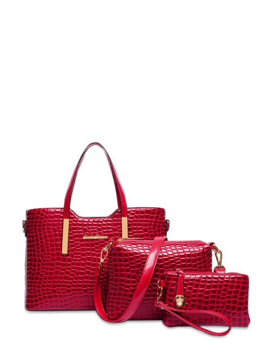 ladies Crocodile Print Rivets Zipper Tote Bag - RED