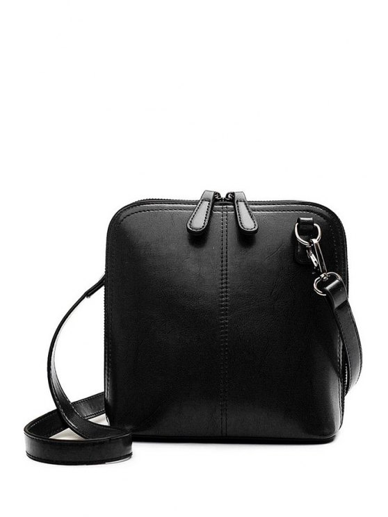 outfit Buckle Zipper Solid Color Crossbody Bag - BLACK