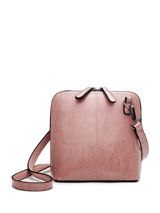 trendy Buckle Zipper Solid Color Crossbody Bag - PINK