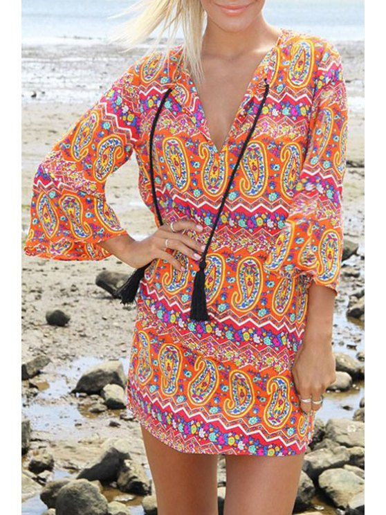 latest 3/4 Sleeve Paisley Print Loose Dress - COLORMIX S